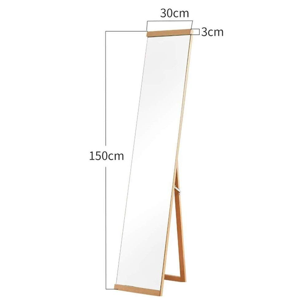 Tian Nordic Wall-Mounted Floor Mirror Full-Length Home Clothes Mirror Dressing Store with Bracket Solid Wood Mirror (Color : Walnut Color) by Tian