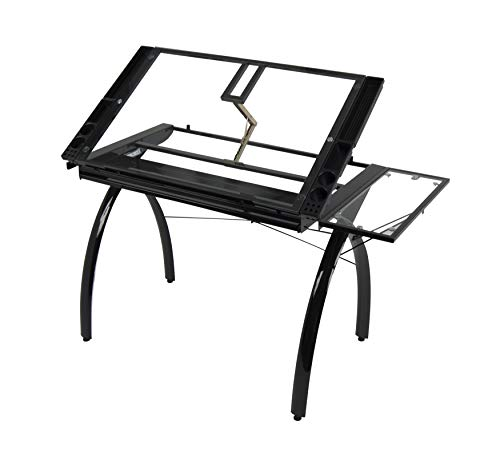 SD STUDIO DESIGNS Futura Craft Station w/ Folding Shelf, Top Adjustable Drafting Table Craft Table Drawing Desk Hobby Table Writing Desk Studio Desk w/ Drawers, 35.5''W x 23.75''D, Black/Clear -