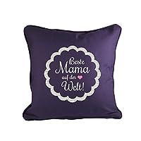 Klebefieber Dekokissen Beste Mama auf der Welt B x H: 40cm x 40cm Farbe: lila