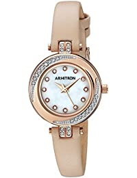 Women's 75/5542MPRGBH Swarovski Crystal Accented Rose Gold-Tone and Blush Pink Leather Strap Watch