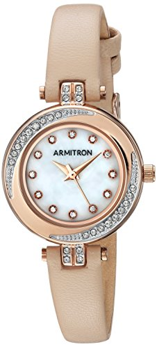 Armitron Women's 75/5542MPRGBH Swarovski Crystal Accented Rose Gold-Tone and Blush Pink Leather Strap Watch