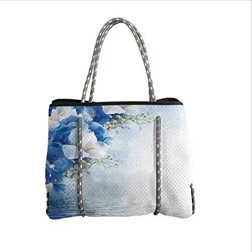 Dreamy Hydrangea (iPrint Neoprene Multipurpose Beach Bag Tote Bags,Light Blue,Blue Hydrangeas and White Irises Over The Sea Romantic Bouquet Dreamy,Blue Light Blue White,Women Casual Handbag Tote Bags)