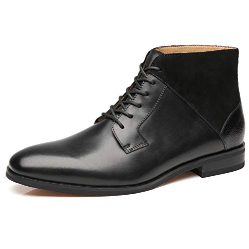 Black Leather Boot Dress (La Milano Mens Winter Chukka Suede Ankle Dress Boots Leather Lace up Oxford Classic Comfortable Boots)