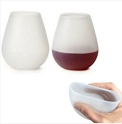 Multiform Set of 2 Silicone Wine Glasses Cups Unbreakable Stemless Dishwasher Safe Flexible Beer &Drink Cups Clear Rubber Silicone Wine Glasses For Camping BBQ Picnic Outdoor Portable Cups Bar Cups