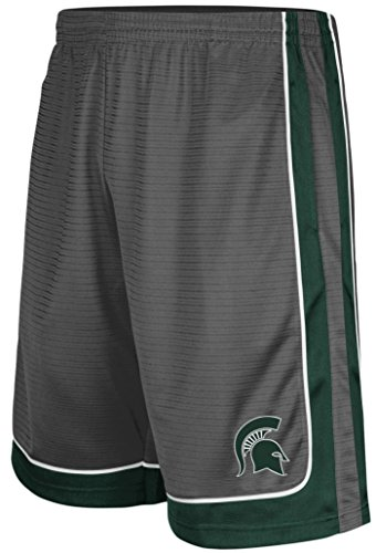 Michigan State Spartans Colosseum Charcoal Embroidered Big Winner Synthetic Shorts (Michigan State Spartans Big Game)