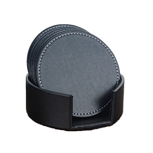 Accmart Set of 6 PU Leather Coasters Cup Mats with Holder Home Office Hotel Use,4.33inch(Black)