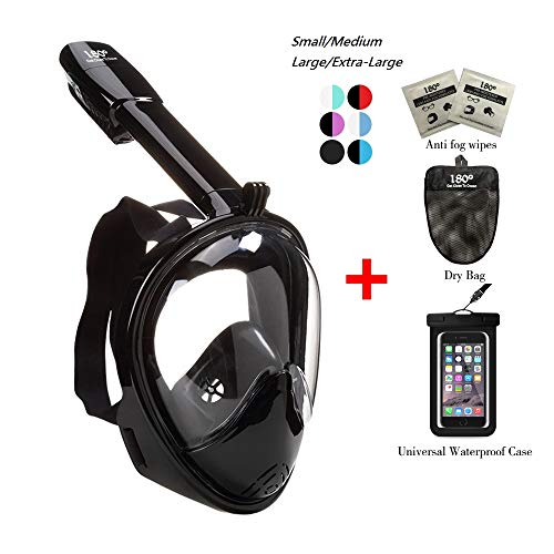 180° Snorkel Mask View for Adults and Youth. Full Face Free Breathing Design.[Free Bonuses] Cell Phone Universal Waterproof Case (Dry Bag) and Anti-Fog Wipes (NewBlack, Large/Extra Large)