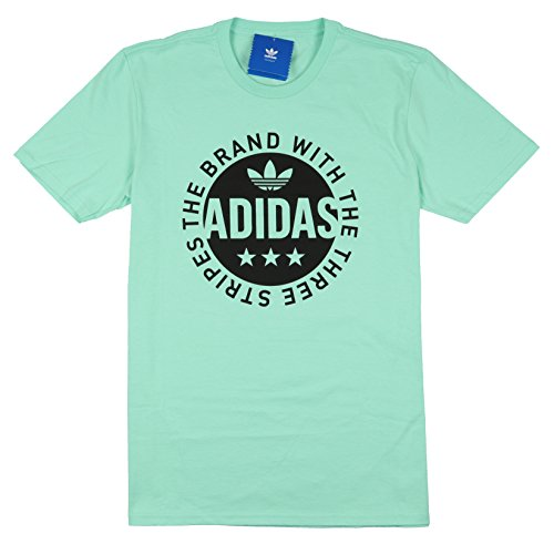 adidas Men's Circle Star Logo T-Shirt Small Easy Mint Green Black