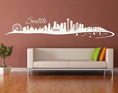 Seattle City Skyline Wall Decal by Style & Apply - cityscape highest quality wall decal, sticker, mural vinyl art home decor - 4200