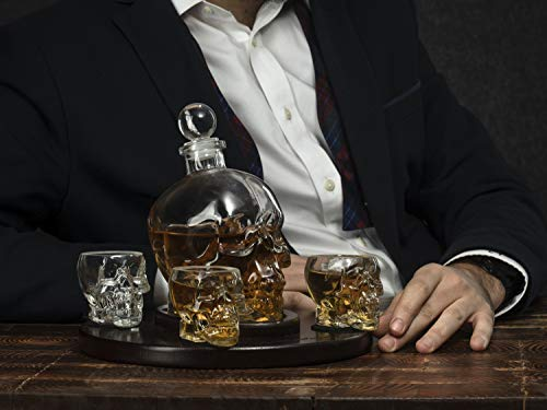 Large Skull Face Decanter with 4 Skull Shot Glasses and Beautiful Wooden Base - By The Wine Savant Use Skull Head Cup For A Whiskey, Scotch and Vodka Shot Glass, 25 Ounce Decanter 3 Ounces Shot Glass by The Wine Savant (Image #5)