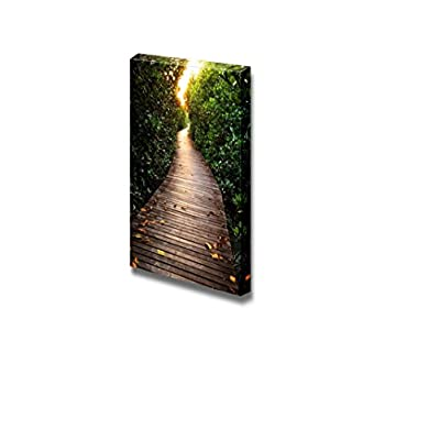 Canvas Prints Wall Art - Wooden Bridge in Mangrove Forest | Modern Wall Decor/Home Decoration Stretched Gallery Canvas Wrap Giclee Print. Ready to Hang - 24
