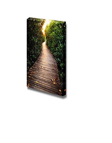 Wall26 - Canvas Prints Wall Art - Wooden Bridge in Mangrove Forest   Modern Wall Decor/ Home Decoration Stretched Gallery Canvas Wrap Giclee Print. Ready to Hang - 36