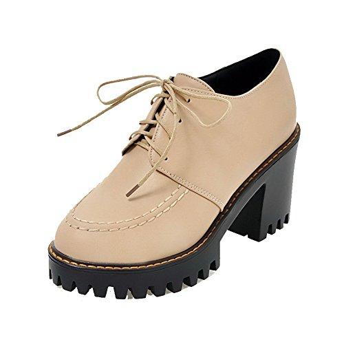 VogueZone009 Damen PU Leder Rund Zehe Hoher Schnüren Rein Pumps Schuhe Aprikosen Farbe