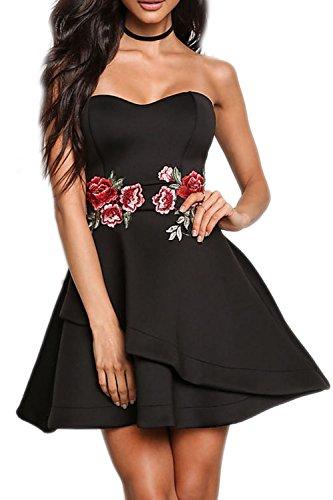 Vestido sin mangas de mujer bordada oscilación Irregular Vestido de fiesta Black
