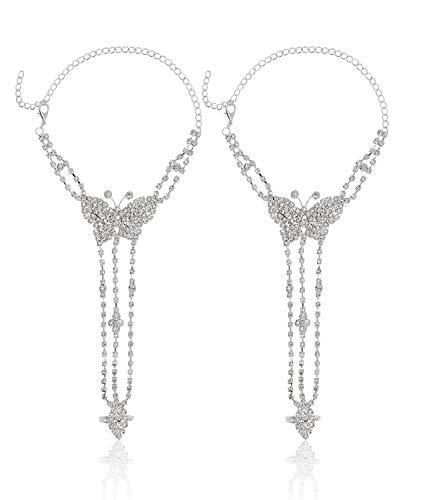 Bellady Ankle Bracelet for Women Sandals Foot Jewelry Wedding Chain 2pcs