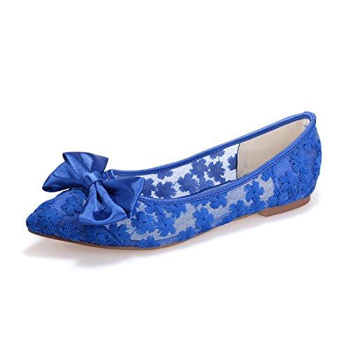 Dedo L 17 yc Seda La Zapatos Planos Noche Blue Y Mujeres Del Las 2046 Finas Sandalias Pie De Boda Cordón fOfrEwd