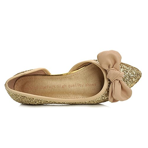 Toe with Closed Pointed Frosted Solid Sequins Gold VogueZone009 Womens Flats Bowknot 58EqOxt