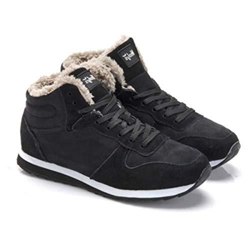 Plus Size Winter Men Sneakers Genuine Leather Winter Warm Plush Men Casual Shoes Outdoor Unisex Sport Shoes For Men Blue Black