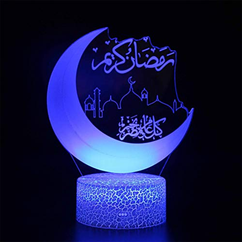 Terzsl Ramadan – Luces LED decorativas 3D de larga duración, estrellas de luna, luz nocturna para el hogar, mando a…