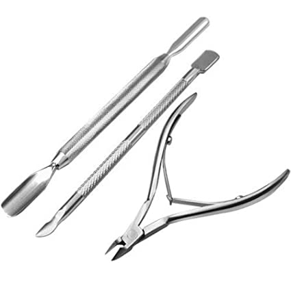 Restly(TM) Stainless Steel Cuticle Nipper Cutter Nail Art Clipper set (cuticle clipper + cuticle pusher)