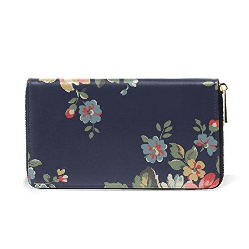 Wallet Clutch Zip Around And Womens Purses Handbags Leather Vintage TIZORAX Flowers Organizer BqIPPZ