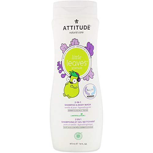 Attitude Little leaves, hypoallergenic and natural 2-in-1 shampoo and body wash, Vanilla and Pear, 16 Fl Oz