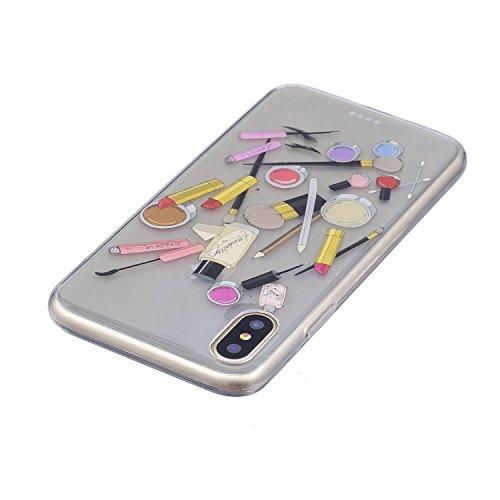 Coque iPhone X Cosmétique Premium Gel TPU Souple Silicone Transparent Clair Bumper Protection Housse Arrière Étui Pour Apple iPhone X / iPhone 10 (2017) 5.8 Pouce + Deux cadeau