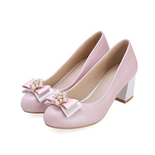 AllhqFashion Damen PU Leder Mittler Absatz Rund Zehe Rein Ziehen auf Pumps Schuhe Pink