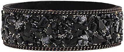 LiuQ Pulseras Las Pulseras de Cuero Pulseras de Piedra for Las Mujeres Wrap Manguito Slake con el Cristal del Rhinestone Pareja Naturaleza brazaletes joyería Retro (Color : Black)