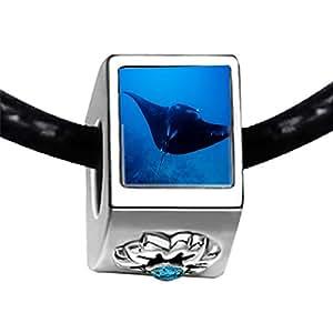Chicforest Silver Plated Ocean Stingray Photo Blue Zircon Crystal December Birthstone Flower Charm Beads Fits Pandora Charm Bracelet