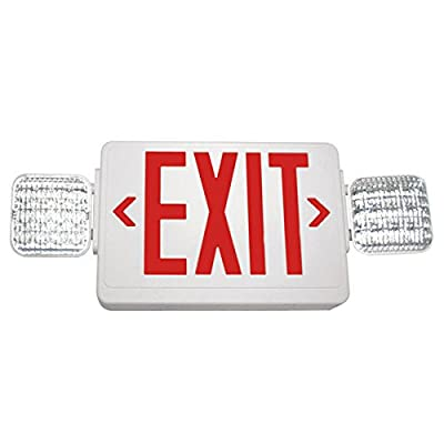 Double Face LED Combination Exit Sign - LED Lamp Heads - Remote Capable - Red Letters - 90 Min. Operation - White - 120/277V VLED-U-WH-EL90-R