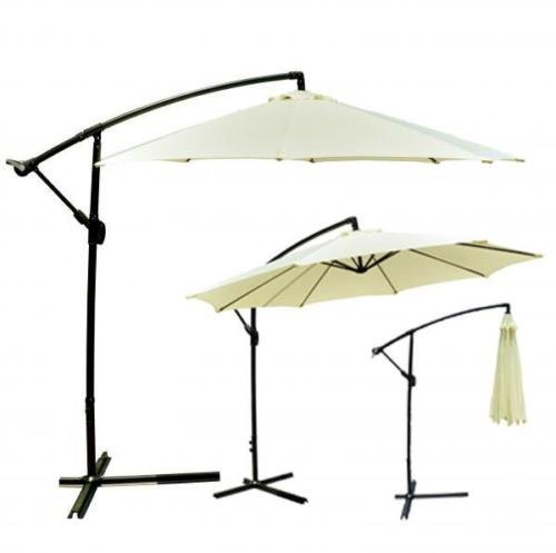 Outdoors Heavy Duty Beige Patio Umbrella Offset 10' Hanging Umbrella Outdoor Market Umbrella Attractive Design by One Happy Shop