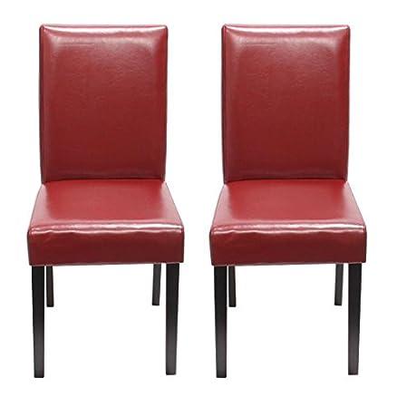 Set 2x sedie Littau pelle per sala da pranzo 43x56x90cm ~ rosso ...