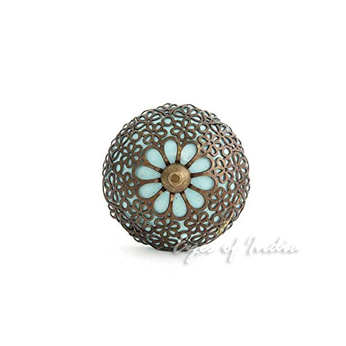 Eyes of India - Blue Round Ceramic Door Dresser Cabinet Cupboard Knobs Pulls Decorative Shabby Chic Colorful Boho ()