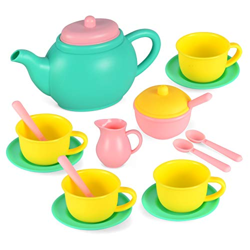 JOYIN Pretend Play Tea Party Set Play Food Accessories BPA Free Phthalates Free (Colors May Vary)