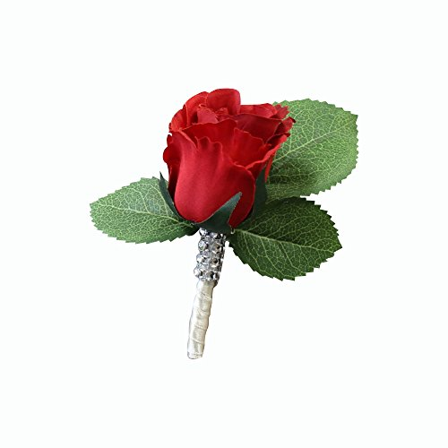 (Angel Isabella Boutonniere-Nice hand-crafted rosebud keepsake artificial flower-Pearl headed Pin included (Red))