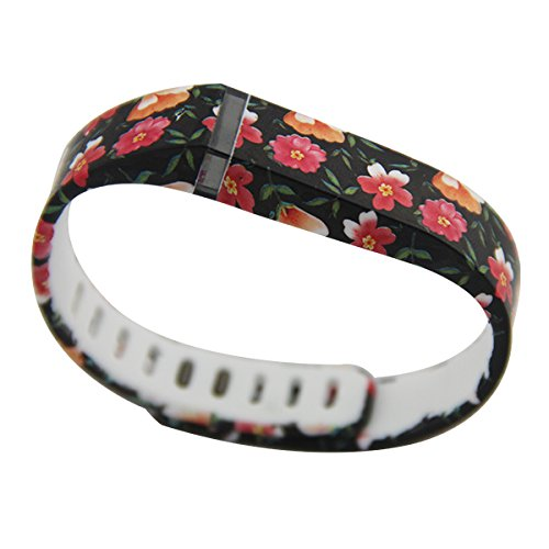ToLuLu ® multi-design Large Smallサイズ交換リストバンドwith Clasp for Fitbit Flexブレスレット、[ Small ,レッドハートドット] B00YDSH6C0 Black with flowers Small