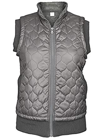 Green 3 Artisans Women's Quilted Reversible Zip Front Vest Charcoal Small