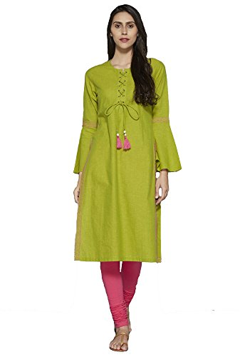Cotton Dress with Bell Indian Green Long Calf Sleeves Kurtis Flute Festive amp; Aahwan Casual for Women Embroidered IZWxn