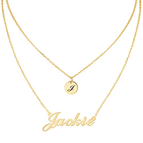 - Custom4U Personalized Name Necklace Custom Made Pendant Jewelry Gift for Women (Layered Necklace-Disc)