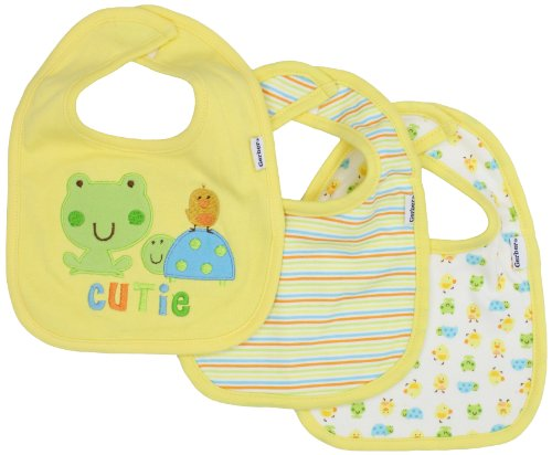 Gerber Unisex-Baby Newborn 3 Pack Interlock Dribbler Bib Frog, Yellow/Green, One Size