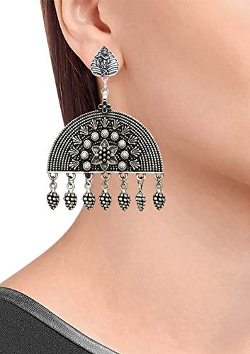 JWL2674 Mehrunnisa Jaipur Oxidised Krishna Semicircle Earrings