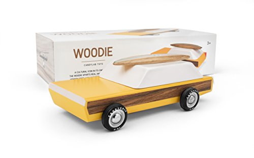 (Candylab Toys - Woodie Wooden Car with Surfboard - Modern Vintage Station Wagon - Solid Beech Wood)