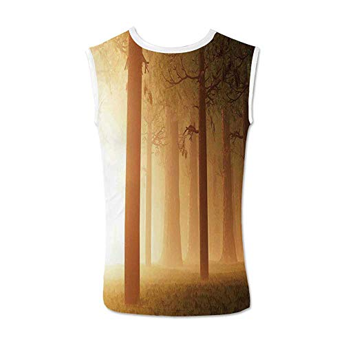- Magical Comfortable Tank Top,Foggy Mist Hazy Jungle with Sun Beams and Rays Spiritual Woodland Spiritual Nature Design for Men,M
