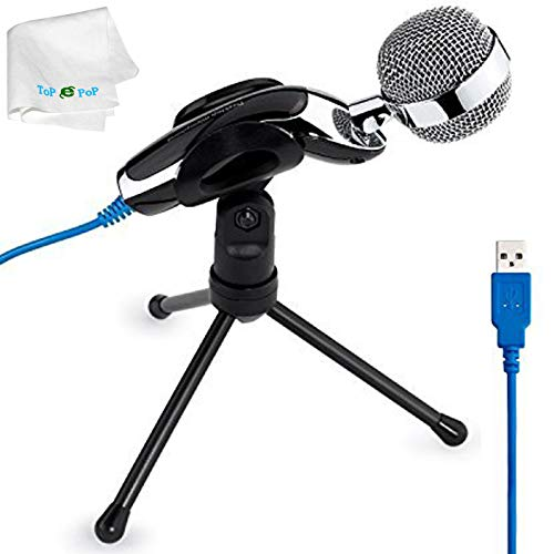 USB Professional Condenser Microphone Desktop Mini Microphone Speaker Audio Studio Sound Recording with Stand for PC Computer Laptop Notebook Skype Chatting Podcasting
