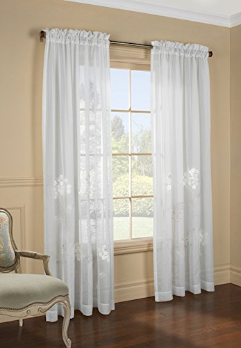 Hydrangea Semi Sheer Faux Linen Embroidered Curtain Panel, 54
