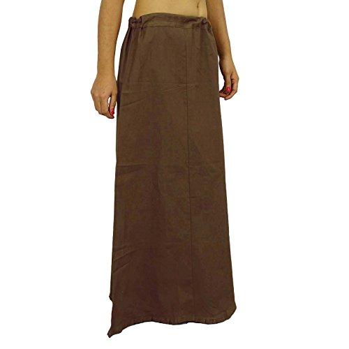 Sari enagua enagua Sólido Algodón Forro de Bollywood de la India Para Sari Brown-2