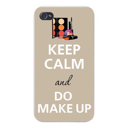 Apple Iphone Custom Case 4 4s White Plastic Snap on - Keep Calm and Do Makeup w/ Mascara, Lipstick, & Blush