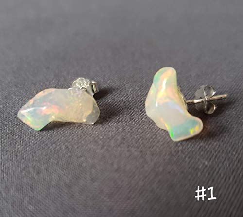 Rare find fire Ethiopian opal 3.3ct Natural Fire opal stud earring with sterling silver