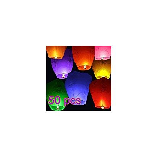CITY 50pcs Chinese Style Paper Lantern Wishing Lamp Sky Lanterns - Random Color